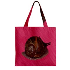 Snail Pink Background Zipper Grocery Tote Bag