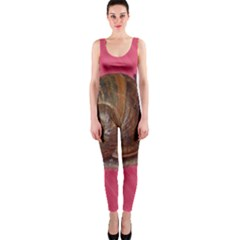 Snail Pink Background OnePiece Catsuit