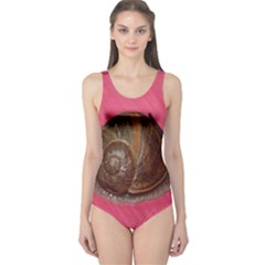 Snail Pink Background One Piece Swimsuit