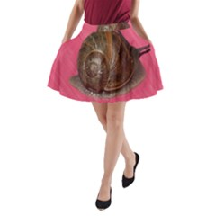 Snail Pink Background A-Line Pocket Skirt