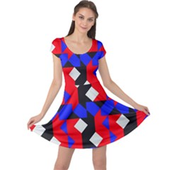 Pattern Abstract Artwork Cap Sleeve Dresses
