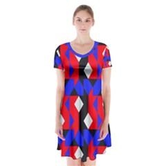 Pattern Abstract Artwork Short Sleeve V-neck Flare Dress
