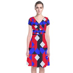 Pattern Abstract Artwork Short Sleeve Front Wrap Dress