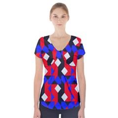 Pattern Abstract Artwork Short Sleeve Front Detail Top
