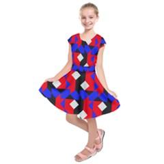 Pattern Abstract Artwork Kids  Short Sleeve Dress