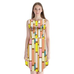 Retro Blocks Sleeveless Chiffon Dress