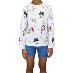 Snowman Christmas Pattern Kids  Long Sleeve Swimwear