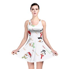 Snowman Christmas Pattern Reversible Skater Dress