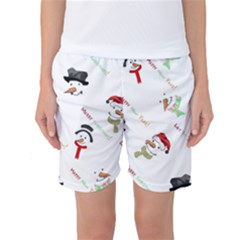 Snowman Christmas Pattern Women s Basketball Shorts
