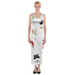Snowman Christmas Pattern Fitted Maxi Dress