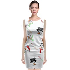 Snowman Christmas Pattern Classic Sleeveless Midi Dress