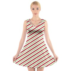 Stripes V Neck Sleeveless Skater Dress