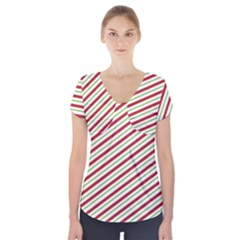 Stripes Short Sleeve Front Detail Top