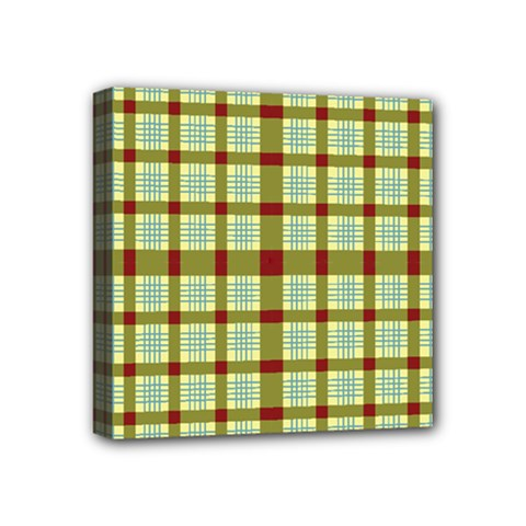 Geometric Tartan Pattern Square Mini Canvas 4  x 4
