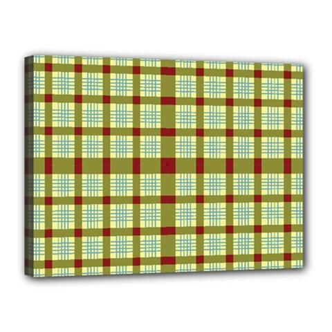 Geometric Tartan Pattern Square Canvas 16  x 12