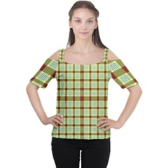 Geometric Tartan Pattern Square Women s Cutout Shoulder Tee