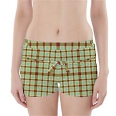 Geometric Tartan Pattern Square Boyleg Bikini Wrap Bottoms