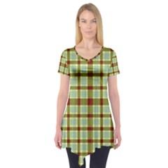 Geometric Tartan Pattern Square Short Sleeve Tunic