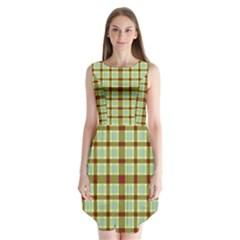 Geometric Tartan Pattern Square Sleeveless Chiffon Dress