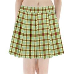 Geometric Tartan Pattern Square Pleated Mini Skirt
