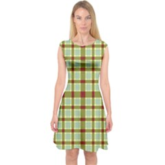 Geometric Tartan Pattern Square Capsleeve Midi Dress