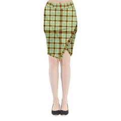 Geometric Tartan Pattern Square Midi Wrap Pencil Skirt