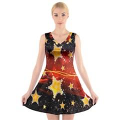 Holiday Space V Neck Sleeveless Skater Dress