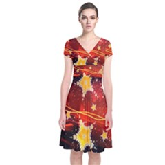 Holiday Space Short Sleeve Front Wrap Dress