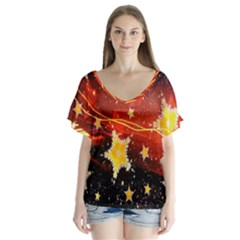 Holiday Space Flutter Sleeve Top