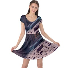 Industry Fractals Geometry Graphic Cap Sleeve Dresses