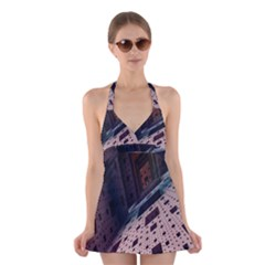 Industry Fractals Geometry Graphic Halter Swimsuit Dress