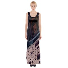 Industry Fractals Geometry Graphic Maxi Thigh Split Dress