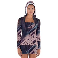 Industry Fractals Geometry Graphic Women s Long Sleeve Hooded T-shirt