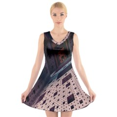Industry Fractals Geometry Graphic V Neck Sleeveless Skater Dress