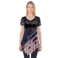 Industry Fractals Geometry Graphic Short Sleeve Tunic