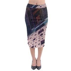 Industry Fractals Geometry Graphic Midi Pencil Skirt