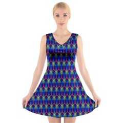 Honeycomb Fractal Art V-Neck Sleeveless Skater Dress
