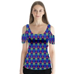 Honeycomb Fractal Art Butterfly Sleeve Cutout Tee