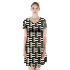 WOV1 BK-MRBL BG-LIN Short Sleeve V-neck Flare Dress