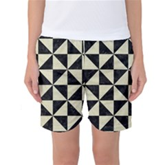 Triangle1 Black Marble & Beige Linen Women s Basketball Shorts