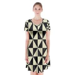 TRI1 BK-MRBL BG-LIN Short Sleeve V-neck Flare Dress