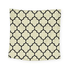 Tile1 Black Marble & Beige Linen (r) Square Tapestry (small)
