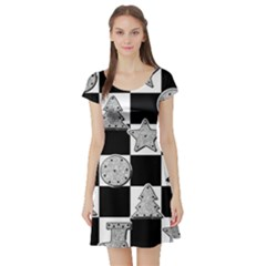 Xmas Checker Short Sleeve Skater Dress