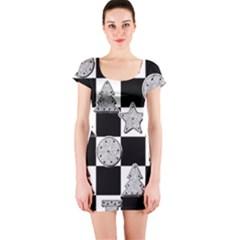 Xmas Checker Short Sleeve Bodycon Dress