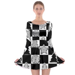 Xmas Checker Long Sleeve Skater Dress