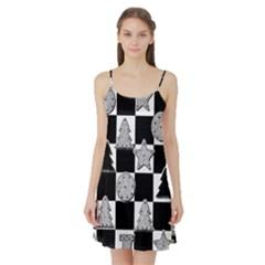 Xmas Checker Satin Night Slip