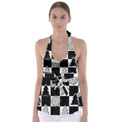 Xmas Checker Babydoll Tankini Top