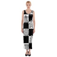 Xmas Checker Fitted Maxi Dress