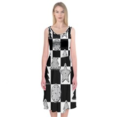 Xmas Checker Midi Sleeveless Dress