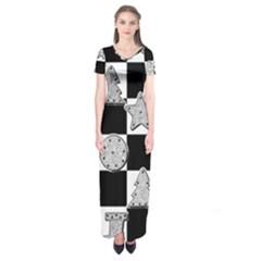 Xmas Checker Short Sleeve Maxi Dress
